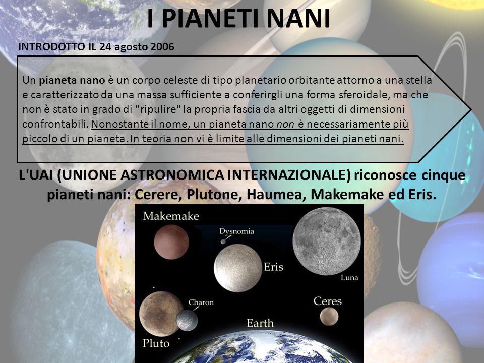 I PIANETI NANI Un pianeta nano è un corpo celeste di tipo planetario orbitante attorno a una stella e caratterizzato da una massa sufficiente a confer