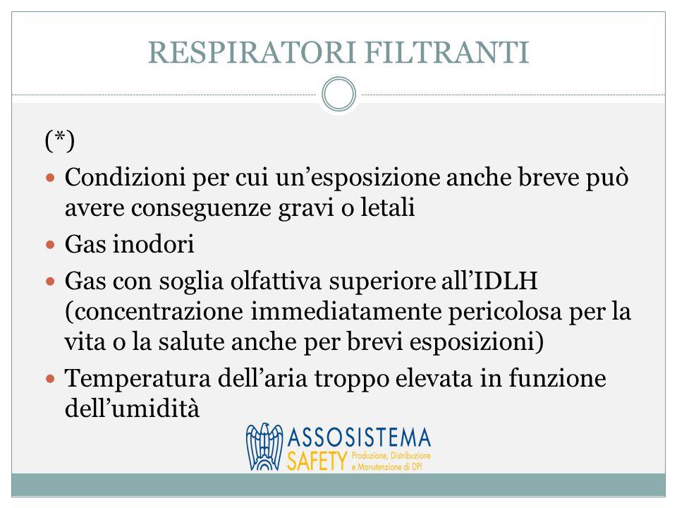 RESPIRATORI FILTRANTI (*) Condizioni per cui un'esposizione anche breve può avere conseguenze gravi o letali Gas inodori Gas con soglia olfattiva supe