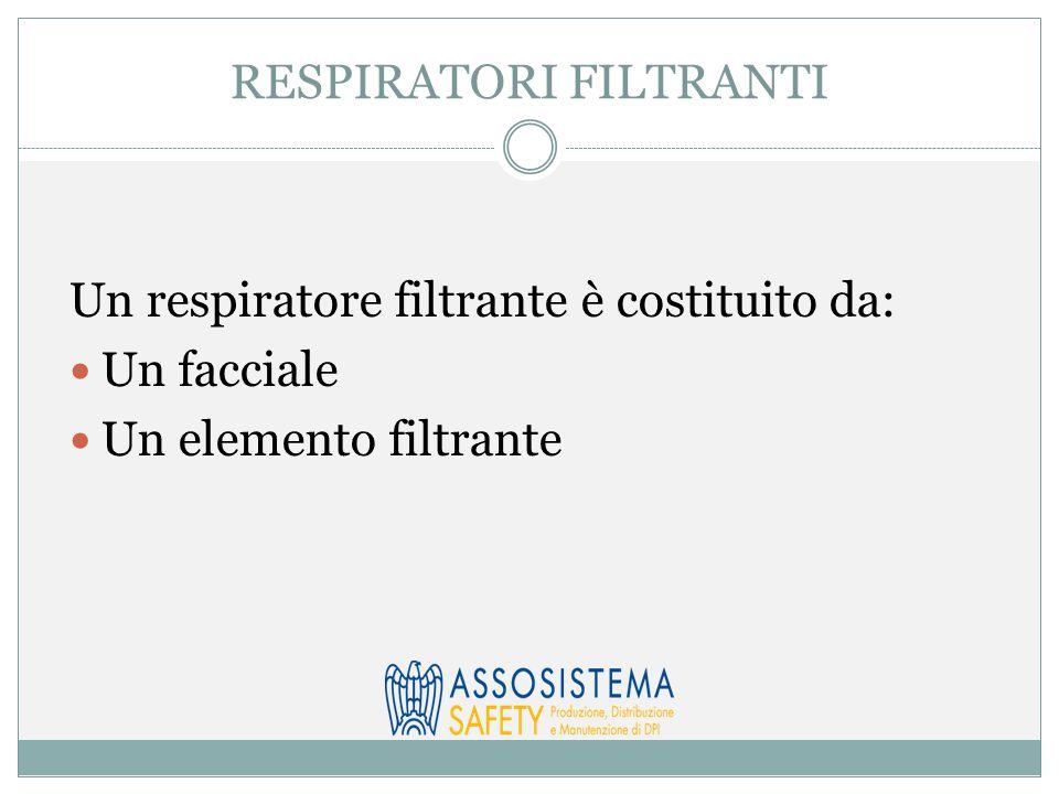 RESPIRATORI FILTRANTI Un respiratore filtrante è costituito da: Un facciale Un elemento filtrante