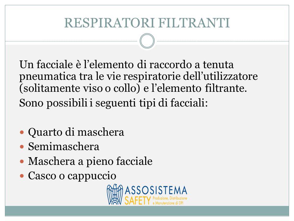 RESPIRATORI FILTRANTI Un facciale è l'elemento di raccordo a tenuta pneumatica tra le vie respiratorie dell'utilizzatore (solitamente viso o collo) e l'elemento filtrante.