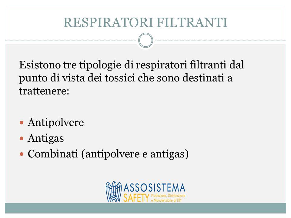 Esistono tre tipologie di respiratori filtranti dal punto di vista dei tossici che sono destinati a trattenere: Antipolvere Antigas Combinati (antipolvere e antigas)