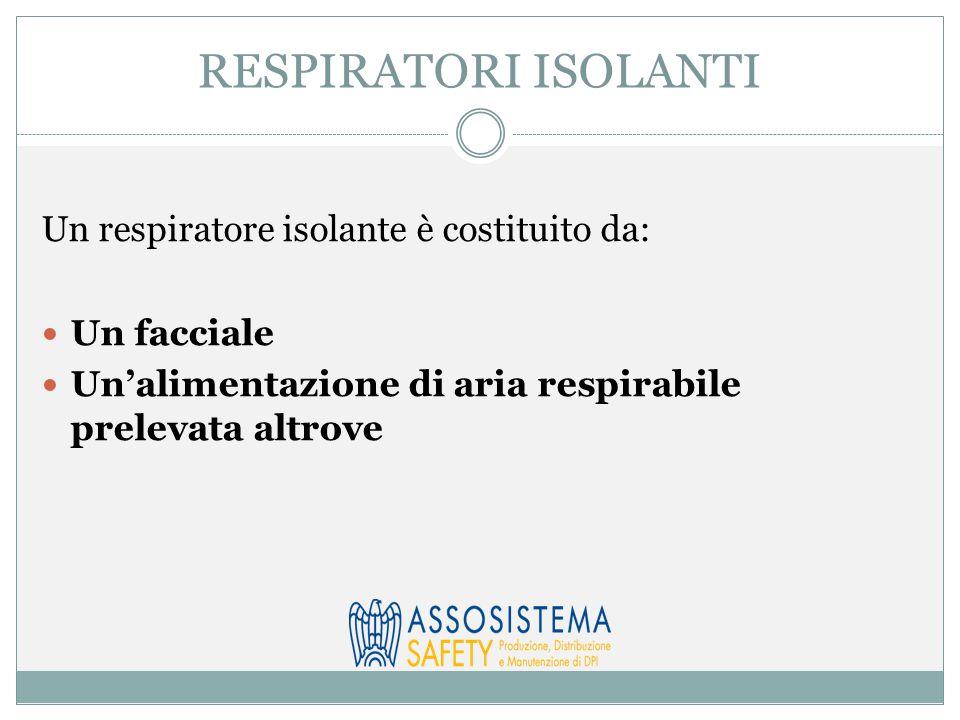 RESPIRATORI ISOLANTI Un respiratore isolante è costituito da: Un facciale Un'alimentazione di aria respirabile prelevata altrove