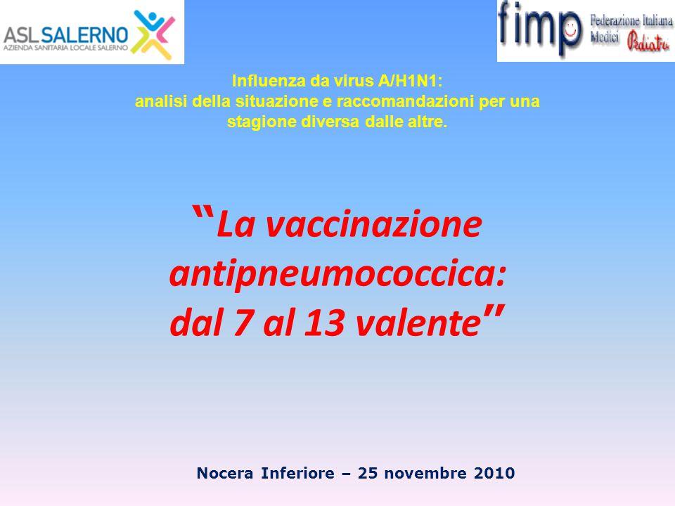 """"""" La vaccinazione antipneumococcica: dal 7 al 13 valente """" Nocera Inferiore – 25 novembre 2010 Influenza da virus A/H1N1: analisi della situazione e r"""