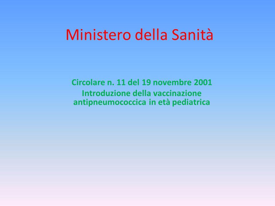 Ministero della Sanità Circolare n. 11 del 19 novembre 2001 Introduzione della vaccinazione antipneumococcica in età pediatrica
