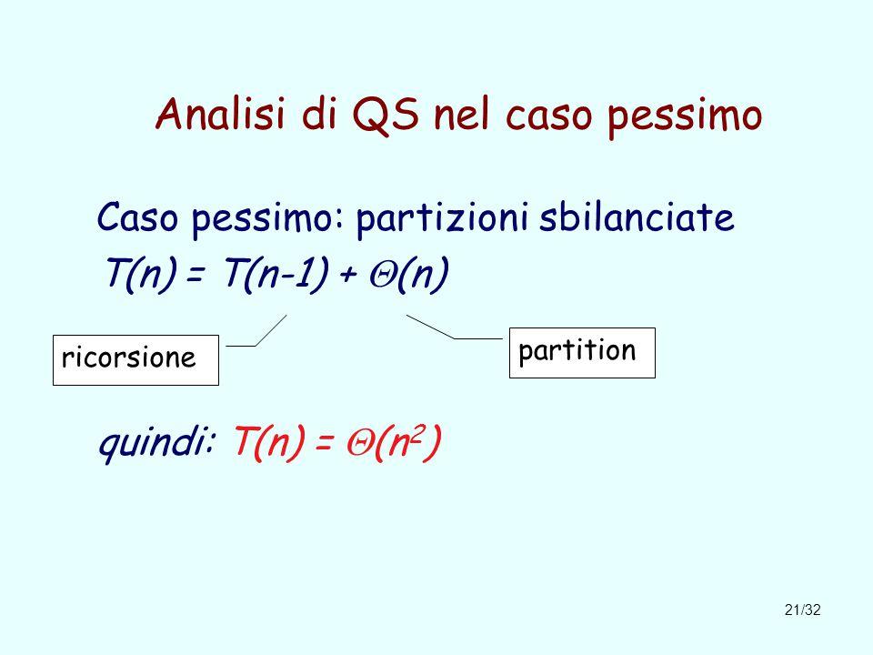21/32 Analisi di QS nel caso pessimo Caso pessimo: partizioni sbilanciate T(n) = T(n-1) +  (n) quindi: T(n) =  (n 2 ) ricorsione partition