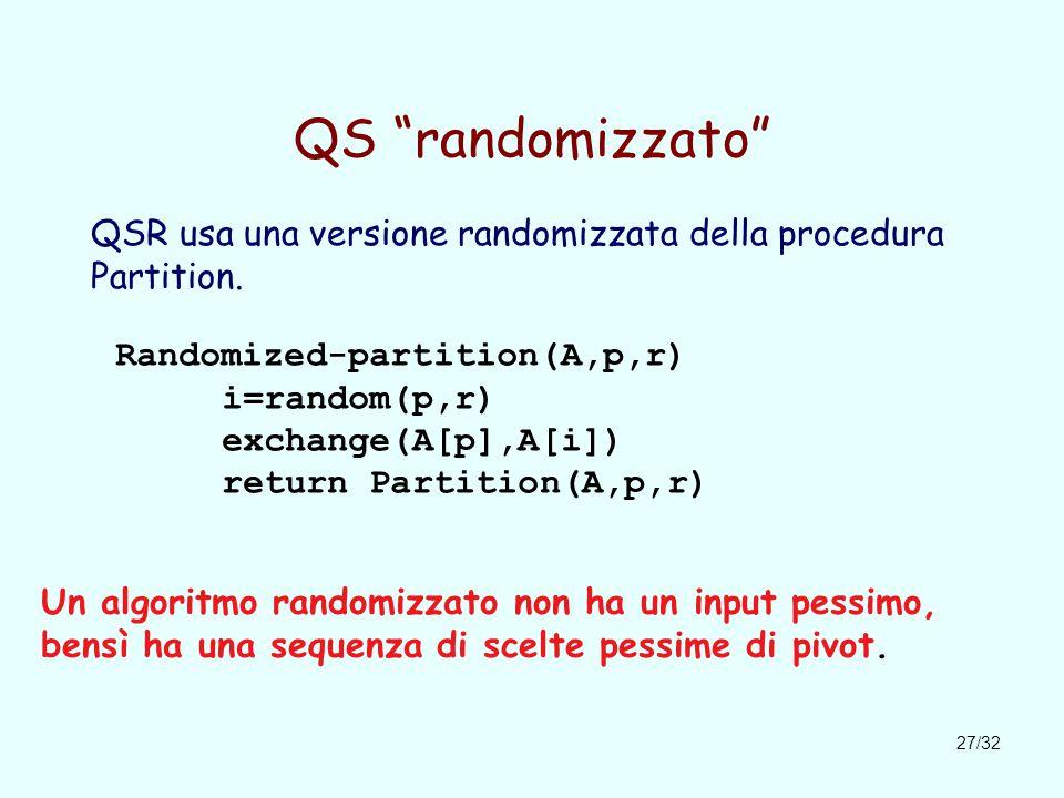 27/32 QS randomizzato QSR usa una versione randomizzata della procedura Partition.