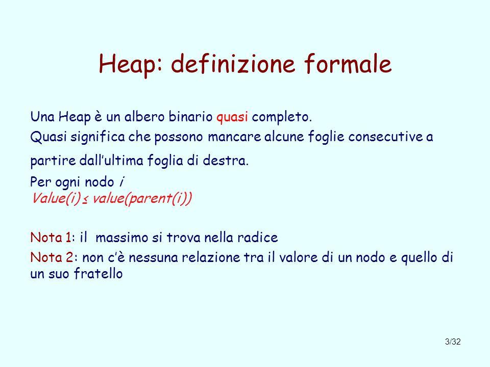 3/32 Heap: definizione formale Una Heap è un albero binario quasi completo.