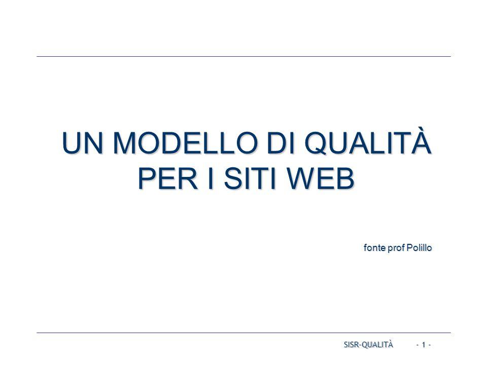 SISR-QUALITÀ - 1 - UN MODELLO DI QUALITÀ PER I SITI WEB fonte prof Polillo