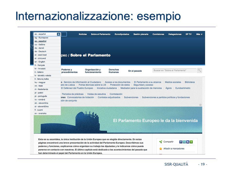 - 19 - Internazionalizzazione: esempio SISR-QUALITÀ