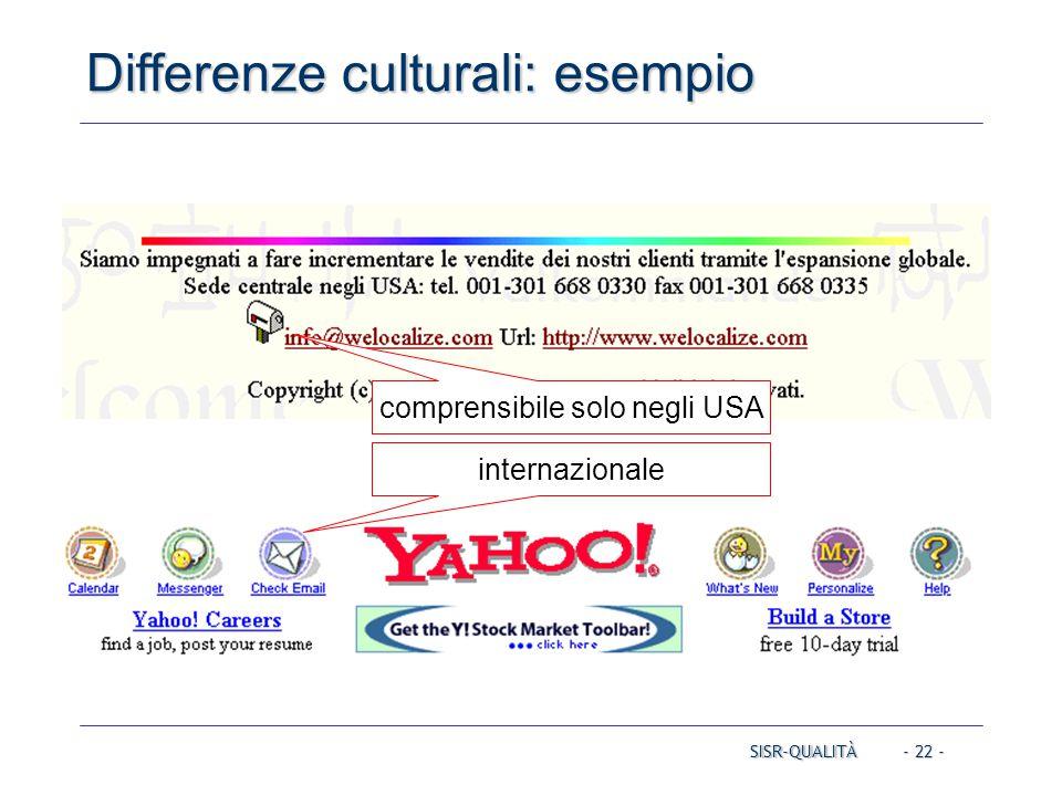 - 22 - Differenze culturali: esempio SISR-QUALITÀ comprensibile solo negli USA internazionale
