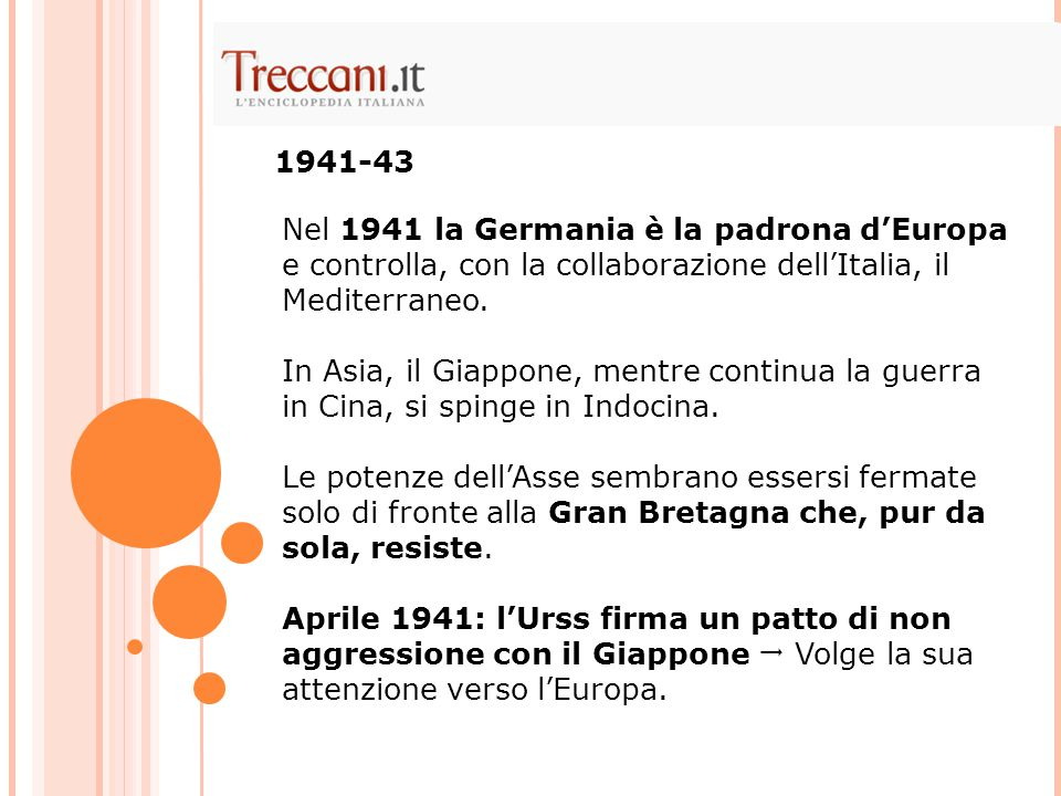 Nel 1941 la Germania è la padrona d'Europa e controlla, con la collaborazione dell'Italia, il Mediterraneo. In Asia, il Giappone, mentre continua la g