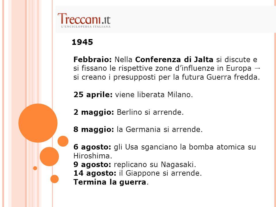 Febbraio: Nella Conferenza di Jalta si discute e si fissano le rispettive zone d'influenze in Europa  si creano i presupposti per la futura Guerra fr
