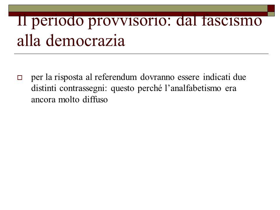 Il periodo provvisorio: dal fascismo alla democrazia  per la risposta al referendum dovranno essere indicati due distinti contrassegni: questo perché l'analfabetismo era ancora molto diffuso