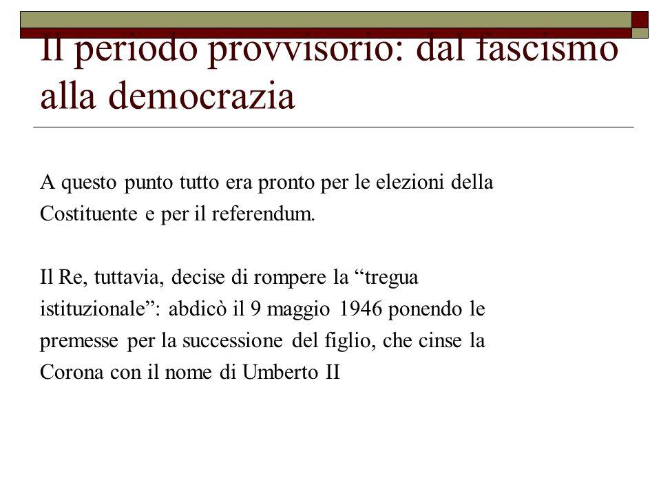 Il periodo provvisorio: dal fascismo alla democrazia A questo punto tutto era pronto per le elezioni della Costituente e per il referendum.