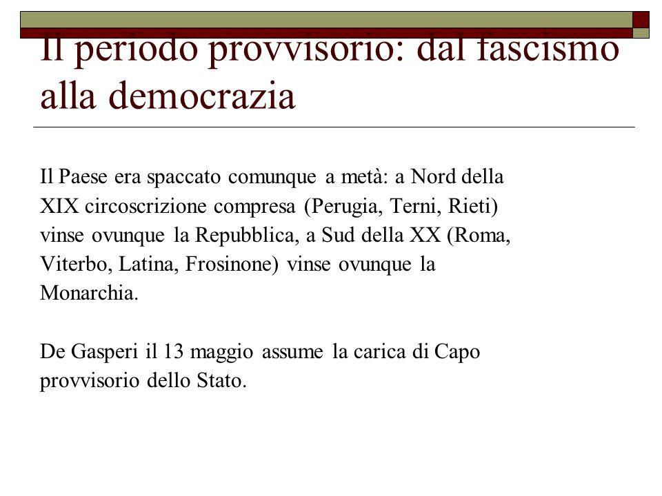 Il periodo provvisorio: dal fascismo alla democrazia Il Paese era spaccato comunque a metà: a Nord della XIX circoscrizione compresa (Perugia, Terni, Rieti) vinse ovunque la Repubblica, a Sud della XX (Roma, Viterbo, Latina, Frosinone) vinse ovunque la Monarchia.