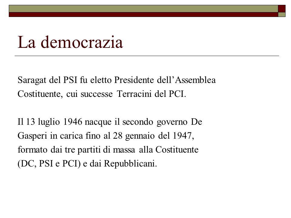 La democrazia Saragat del PSI fu eletto Presidente dell'Assemblea Costituente, cui successe Terracini del PCI.