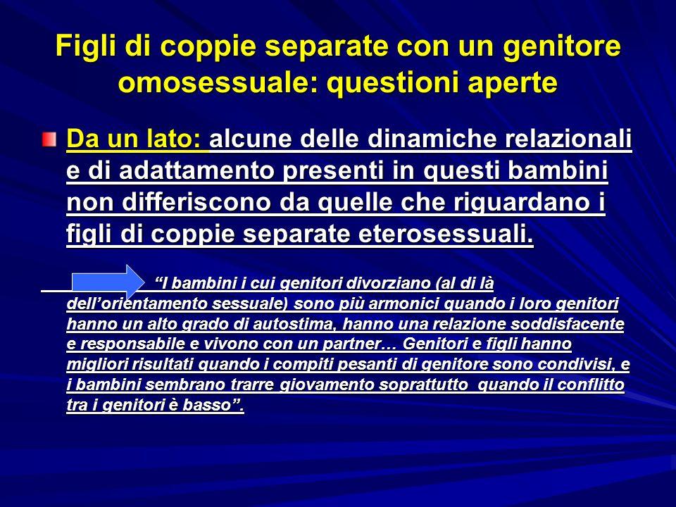Figli di coppie separate con un genitore omosessuale: questioni aperte Da un lato: alcune delle dinamiche relazionali e di adattamento presenti in que