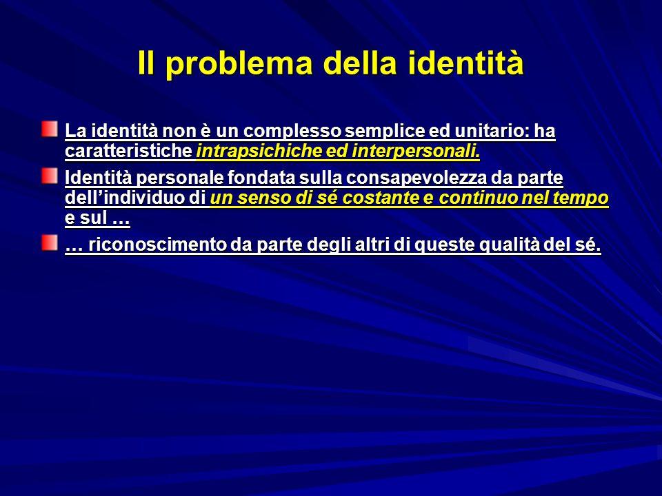 Il problema della identità La identità non è un complesso semplice ed unitario: ha caratteristiche intrapsichiche ed interpersonali. Identità personal