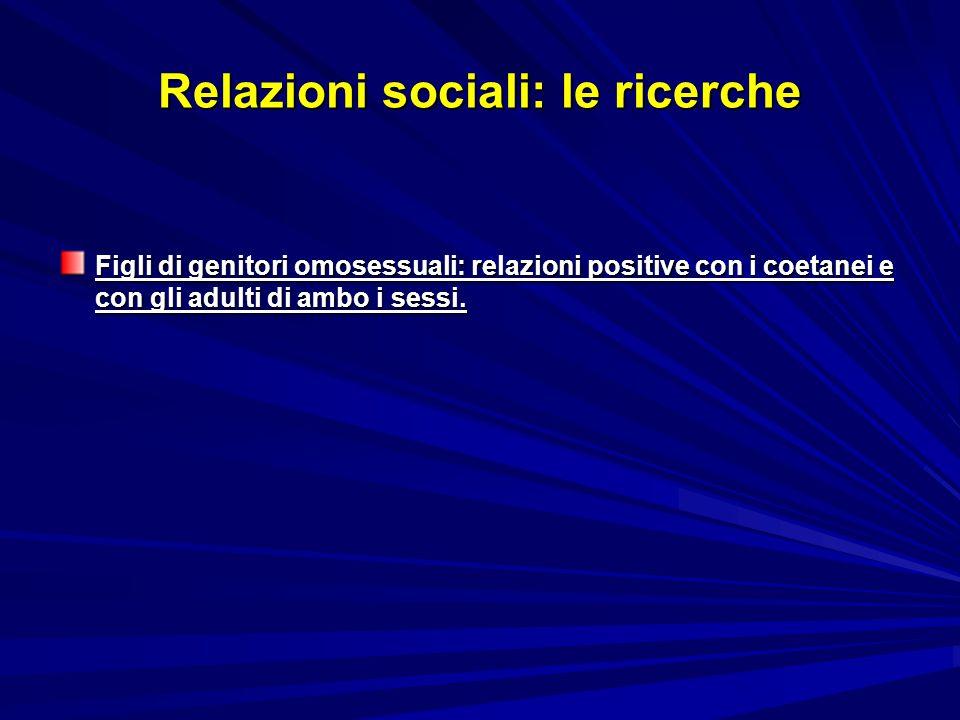 Relazioni sociali: le ricerche Figli di genitori omosessuali: relazioni positive con i coetanei e con gli adulti di ambo i sessi.