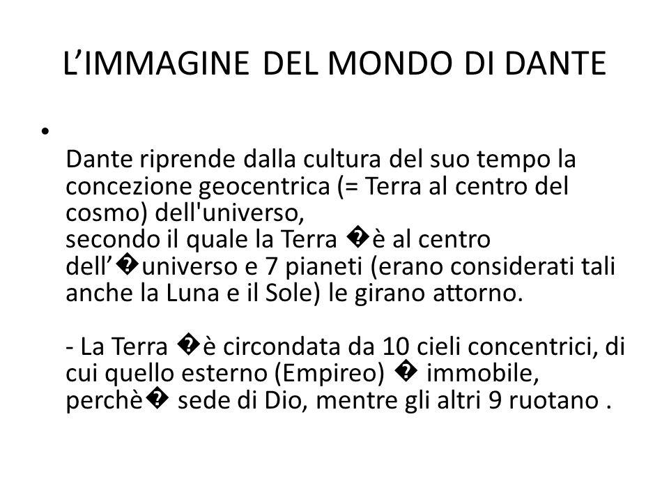 L'IMMAGINE DEL MONDO DI DANTE Dante riprende dalla cultura del suo tempo la concezione geocentrica (= Terra al centro del cosmo) dell'universo, second