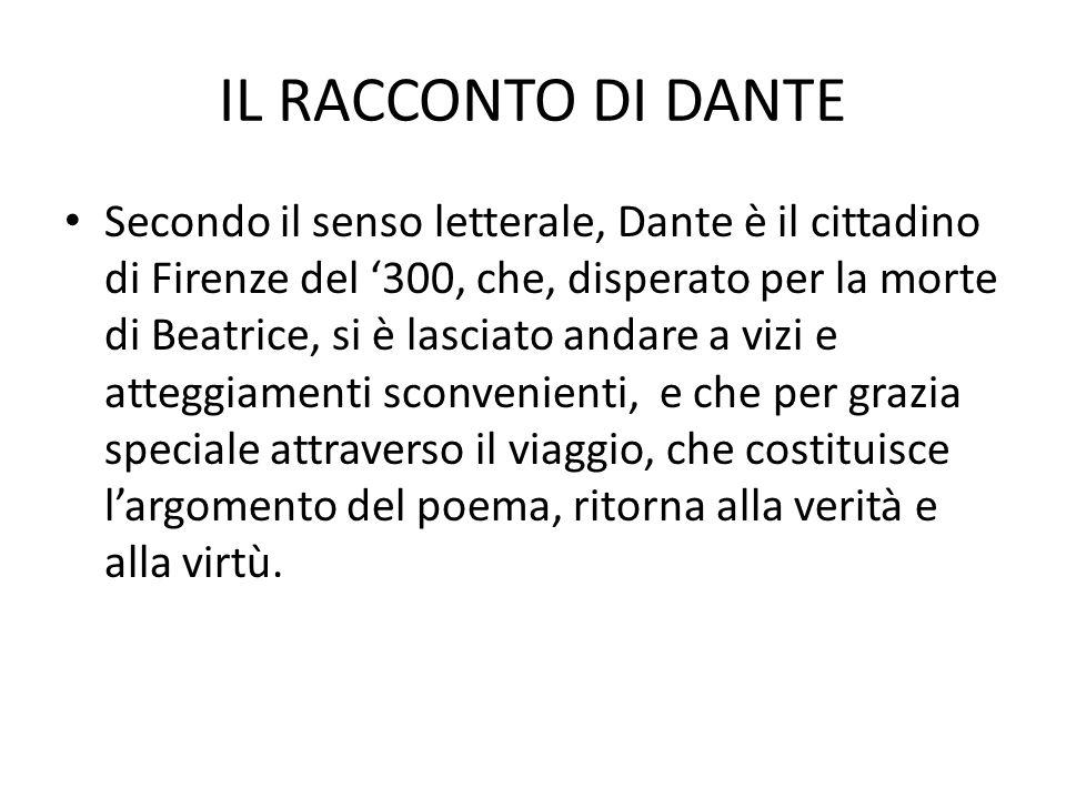 IL RACCONTO DI DANTE Secondo il senso letterale, Dante è il cittadino di Firenze del '300, che, disperato per la morte di Beatrice, si è lasciato anda