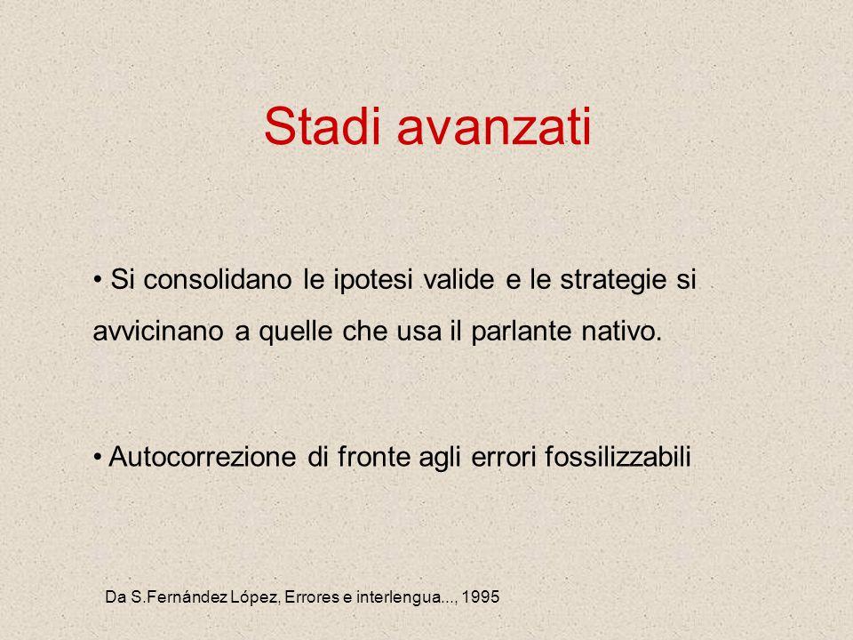 Da S.Fernández López, Errores e interlengua..., 1995 Stadi avanzati Si consolidano le ipotesi valide e le strategie si avvicinano a quelle che usa il parlante nativo.