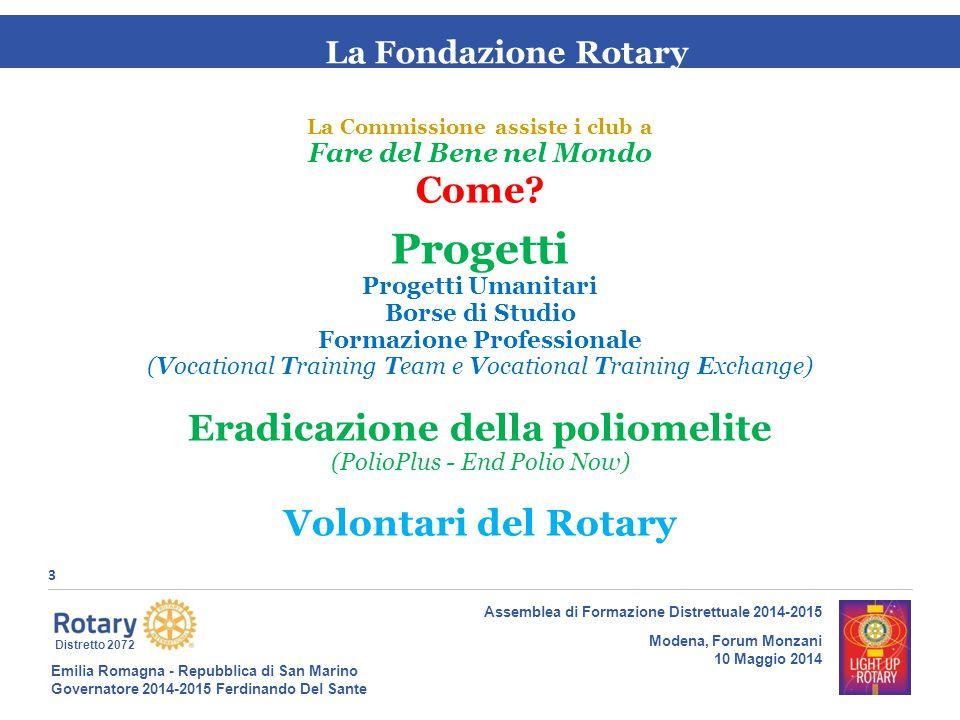 Emilia Romagna - Repubblica di San Marino Governatore 2014-2015 Ferdinando Del Sante Distretto 2072 4 Assemblea di Formazione Distrettuale 2014-2015 Modena, Forum Monzani 10 Maggio 2014 La Fondazione Rotary Con quali strumenti si realizzano i progetti.