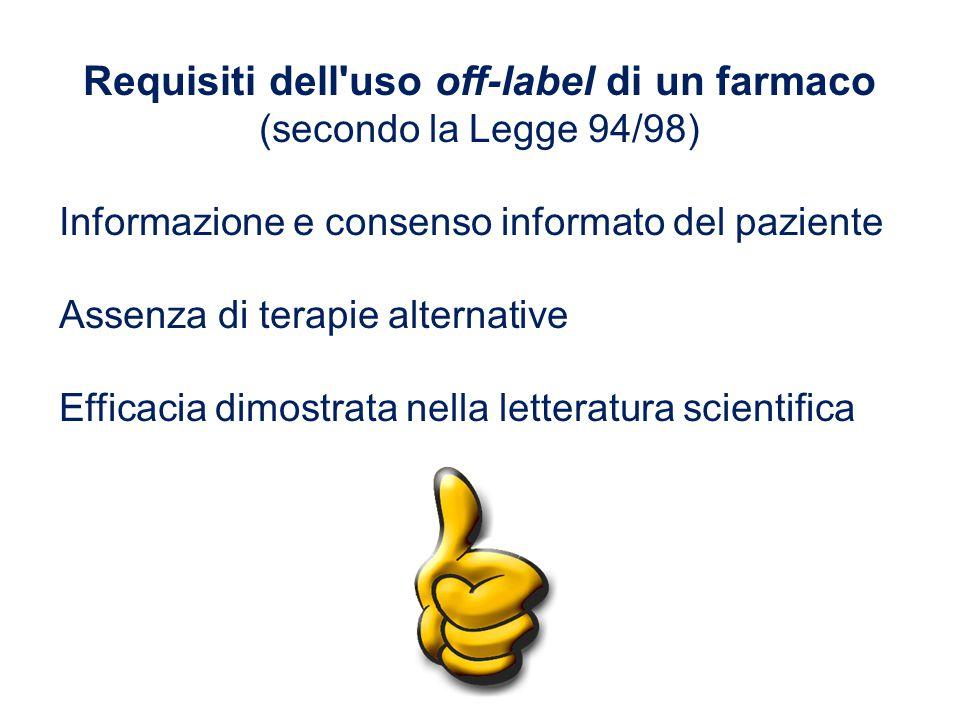 Requisiti dell'uso off-label di un farmaco (secondo la Legge 94/98) Informazione e consenso informato del paziente Assenza di terapie alternative Effi