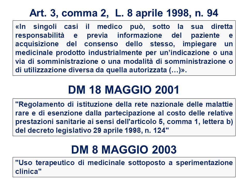 Art. 3, comma 2, L. 8 aprile 1998, n. 94 «In singoli casi il medico può, sotto la sua diretta responsabilità e previa informazione del paziente e acqu