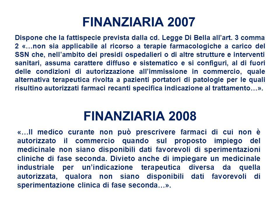 FINANZIARIA 2007 Dispone che la fattispecie prevista dalla cd. Legge Di Bella all'art. 3 comma 2 «…non sia applicabile al ricorso a terapie farmacolog