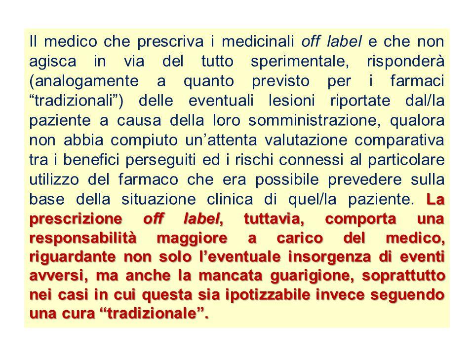 La prescrizione off label, tuttavia, comporta una responsabilità maggiore a carico del medico, riguardante non solo l'eventuale insorgenza di eventi a
