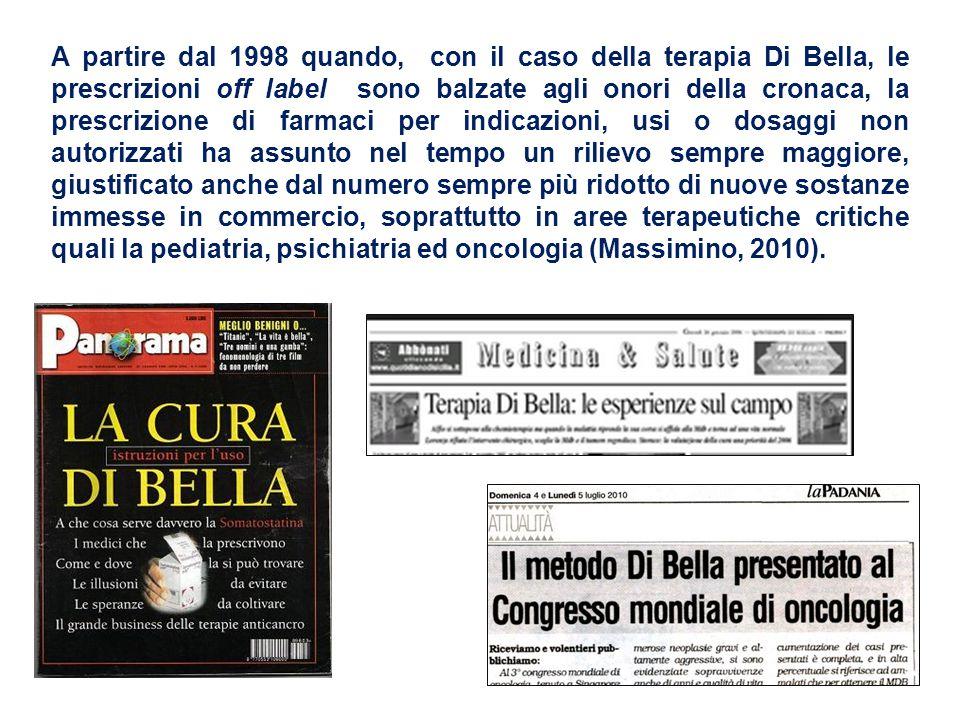 A partire dal 1998 quando, con il caso della terapia Di Bella, le prescrizioni off label sono balzate agli onori della cronaca, la prescrizione di far