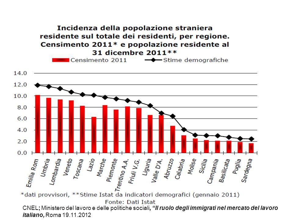 """CNEL; Ministero del lavoro e delle politiche sociali, """"Il ruolo degli immigrati nel mercato del lavoro italiano, Roma 19.11.2012"""