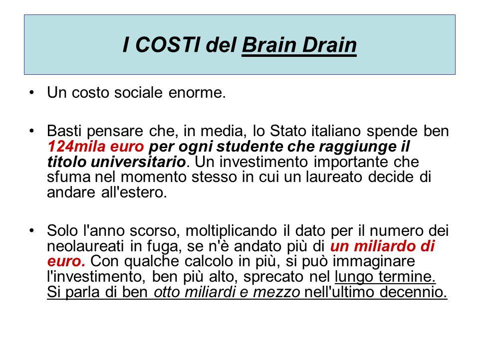 I COSTI del Brain Drain Un costo sociale enorme. Basti pensare che, in media, lo Stato italiano spende ben 124mila euro per ogni studente che raggiung