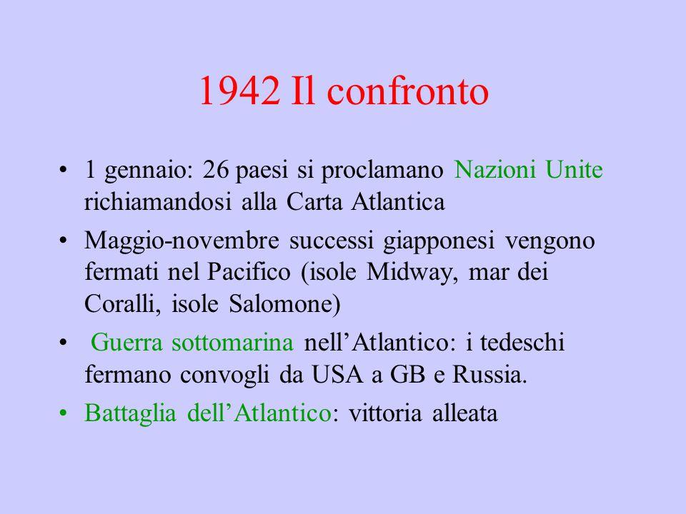 1942 Il confronto 1 gennaio: 26 paesi si proclamano Nazioni Unite richiamandosi alla Carta Atlantica Maggio-novembre successi giapponesi vengono fermati nel Pacifico (isole Midway, mar dei Coralli, isole Salomone) Guerra sottomarina nell'Atlantico: i tedeschi fermano convogli da USA a GB e Russia.