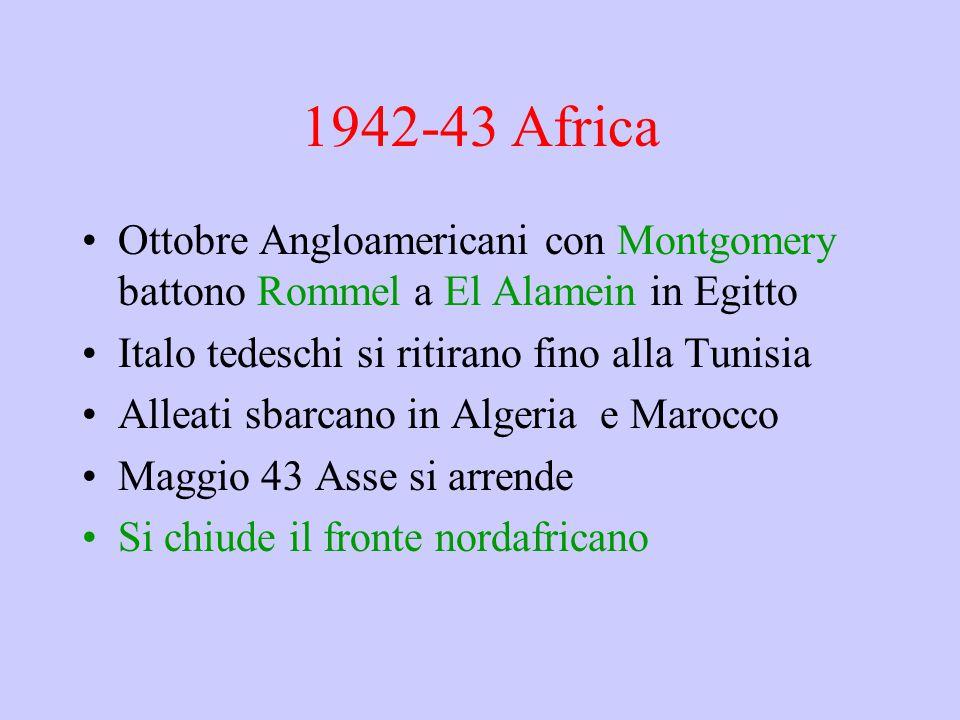1942-43 Africa Ottobre Angloamericani con Montgomery battono Rommel a El Alamein in Egitto Italo tedeschi si ritirano fino alla Tunisia Alleati sbarcano in Algeria e Marocco Maggio 43 Asse si arrende Si chiude il fronte nordafricano