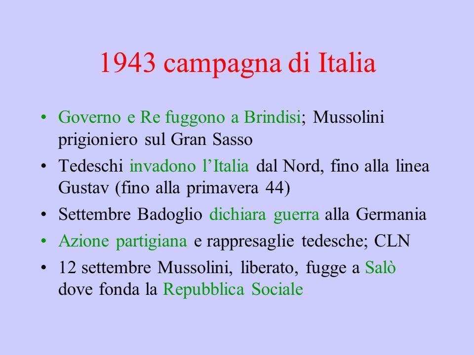 1943 campagna di Italia Governo e Re fuggono a Brindisi; Mussolini prigioniero sul Gran Sasso Tedeschi invadono l'Italia dal Nord, fino alla linea Gustav (fino alla primavera 44) Settembre Badoglio dichiara guerra alla Germania Azione partigiana e rappresaglie tedesche; CLN 12 settembre Mussolini, liberato, fugge a Salò dove fonda la Repubblica Sociale