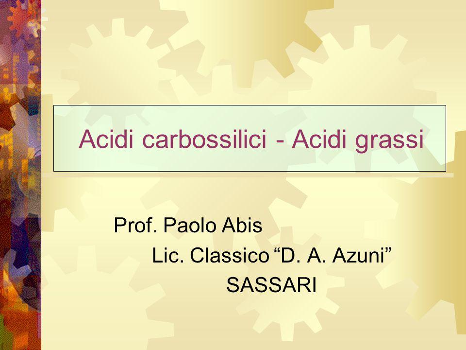 Acidi carbossilici  Sono caratterizzati dal gruppo carbossilico C OH O  Hanno formula generale R—COOH  La nomenclatura IUPAC assegna agli acidi carbossilici il suffisso -oico