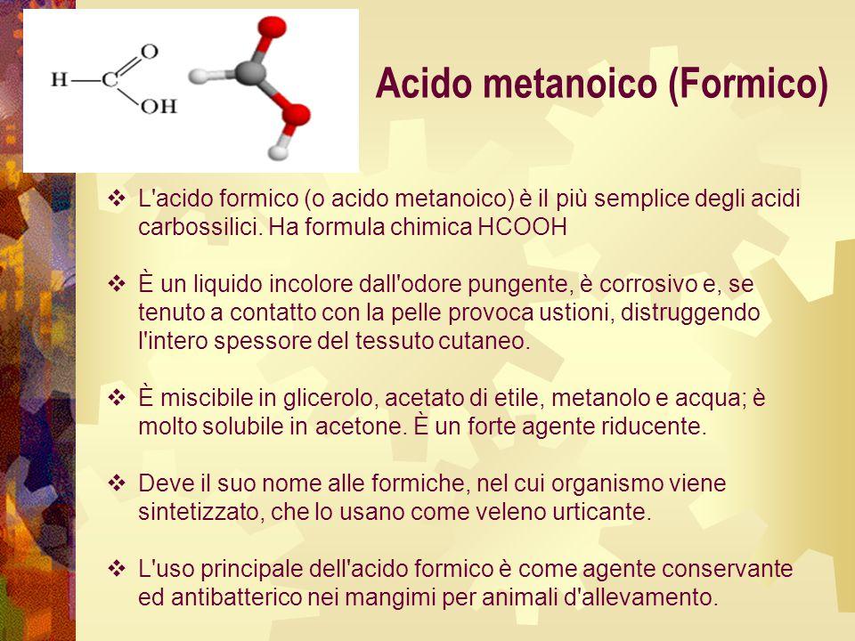  L'acido formico (o acido metanoico) è il più semplice degli acidi carbossilici. Ha formula chimica HCOOH  È un liquido incolore dall'odore pungente