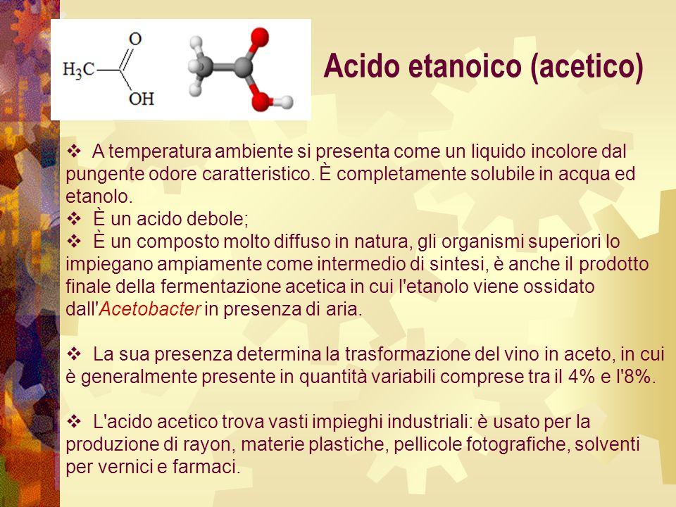 Acido etanoico (acetico)  A temperatura ambiente si presenta come un liquido incolore dal pungente odore caratteristico. È completamente solubile in