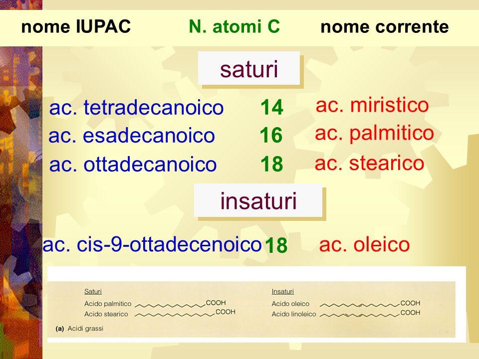 ac. tetradecanoico ac. ottadecanoico 14 18 ac. miristico ac. stearico ac. esadecanoico16 ac. palmitico nome IUPACnome correnteN. atomi C ac. cis-9-ott