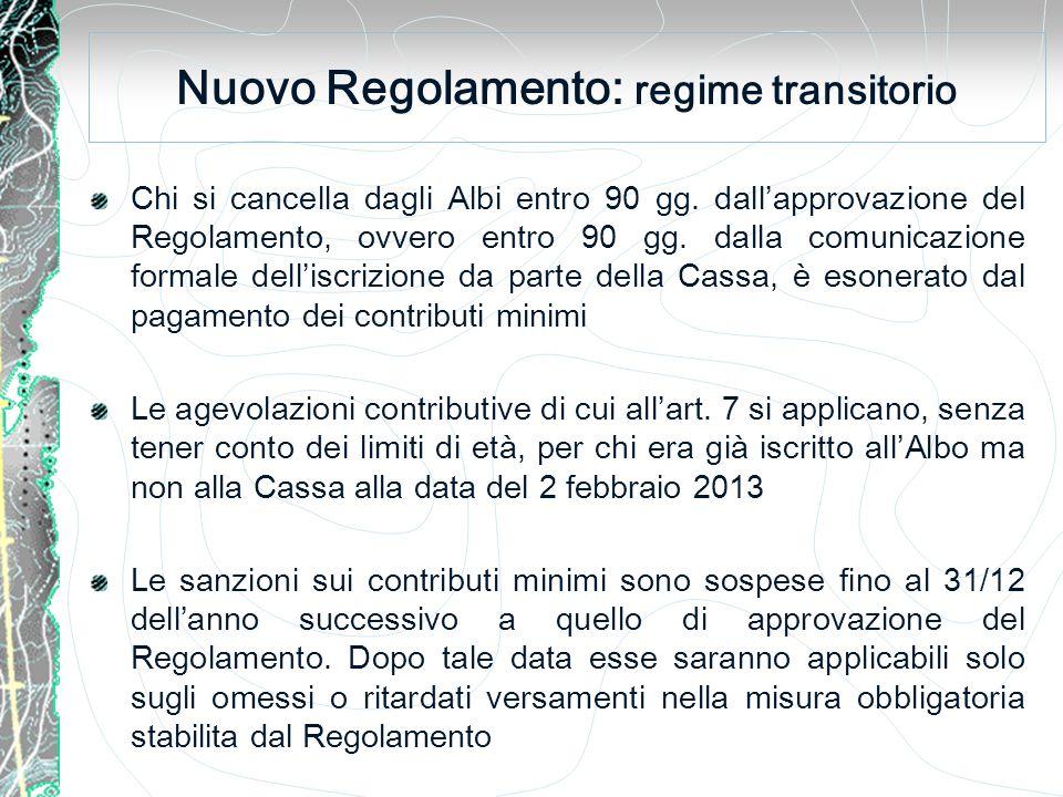 Nuovo Regolamento: regime transitorio Chi si cancella dagli Albi entro 90 gg.