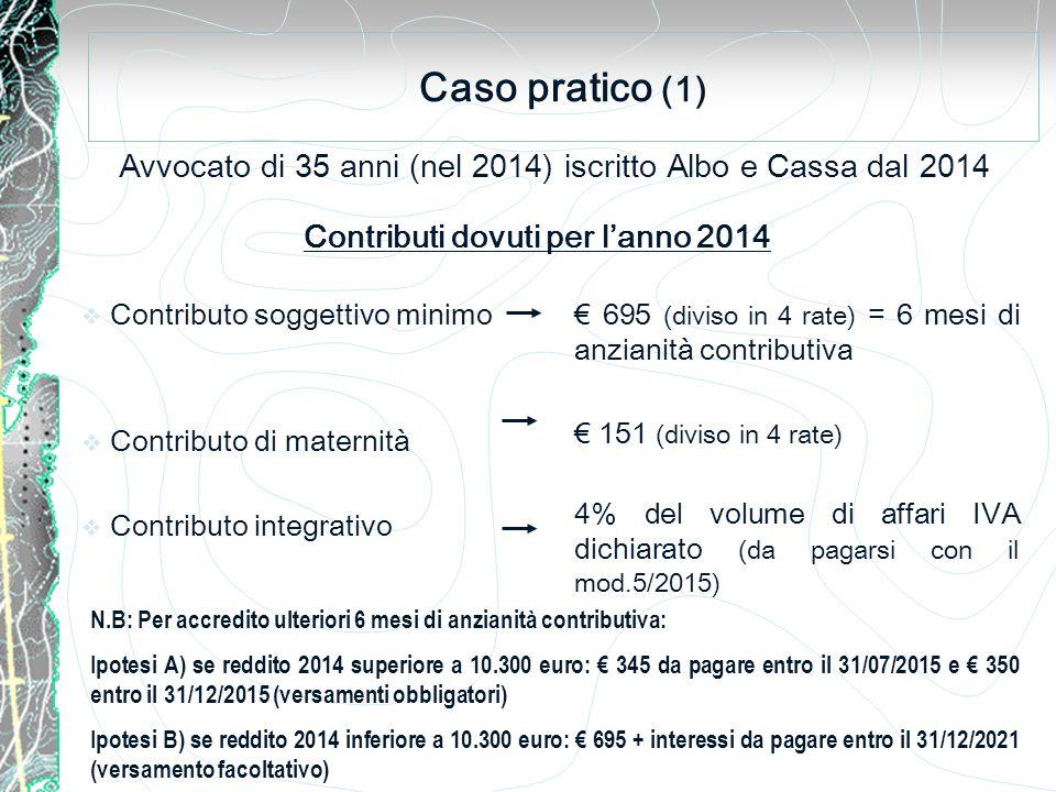 Caso pratico (1) Avvocato di 35 anni (nel 2014) iscritto Albo e Cassa dal 2014  Contributo soggettivo minimo  Contributo di maternità  Contributo integrativo Contributi dovuti per l'anno 2014 € 695 (diviso in 4 rate) = 6 mesi di anzianità contributiva € 151 (diviso in 4 rate) 4% del volume di affari IVA dichiarato (da pagarsi con il mod.5/2015) N.B: Per accredito ulteriori 6 mesi di anzianità contributiva: Ipotesi A) se reddito 2014 superiore a 10.300 euro: € 345 da pagare entro il 31/07/2015 e € 350 entro il 31/12/2015 (versamenti obbligatori) Ipotesi B) se reddito 2014 inferiore a 10.300 euro: € 695 + interessi da pagare entro il 31/12/2021 (versamento facoltativo)
