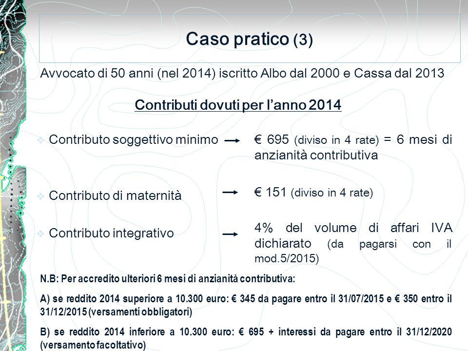 Caso pratico (3) Avvocato di 50 anni (nel 2014) iscritto Albo dal 2000 e Cassa dal 2013  Contributo soggettivo minimo  Contributo di maternità  Contributo integrativo Contributi dovuti per l'anno 2014 € 695 (diviso in 4 rate) = 6 mesi di anzianità contributiva € 151 (diviso in 4 rate) 4% del volume di affari IVA dichiarato (da pagarsi con il mod.5/2015) N.B: Per accredito ulteriori 6 mesi di anzianità contributiva: A) se reddito 2014 superiore a 10.300 euro: € 345 da pagare entro il 31/07/2015 e € 350 entro il 31/12/2015 (versamenti obbligatori) B) se reddito 2014 inferiore a 10.300 euro: € 695 + interessi da pagare entro il 31/12/2020 (versamento facoltativo)