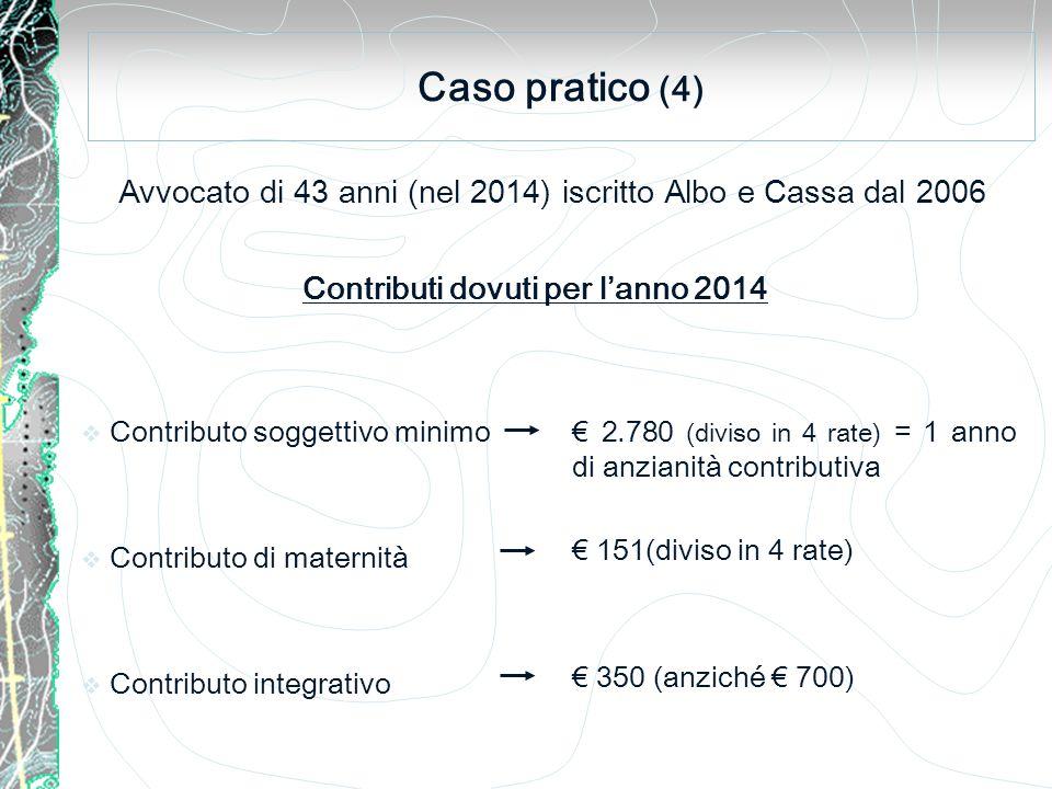Caso pratico (4) Avvocato di 43 anni (nel 2014) iscritto Albo e Cassa dal 2006  Contributo soggettivo minimo  Contributo di maternità  Contributo integrativo Contributi dovuti per l'anno 2014 € 2.780 (diviso in 4 rate) = 1 anno di anzianità contributiva € 151(diviso in 4 rate) € 350 (anziché € 700)