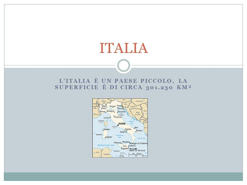 L'ITALIA È UN PAESE PICCOLO, LA SUPERFICIE È DI CIRCA 301.230 KM² ITALIA
