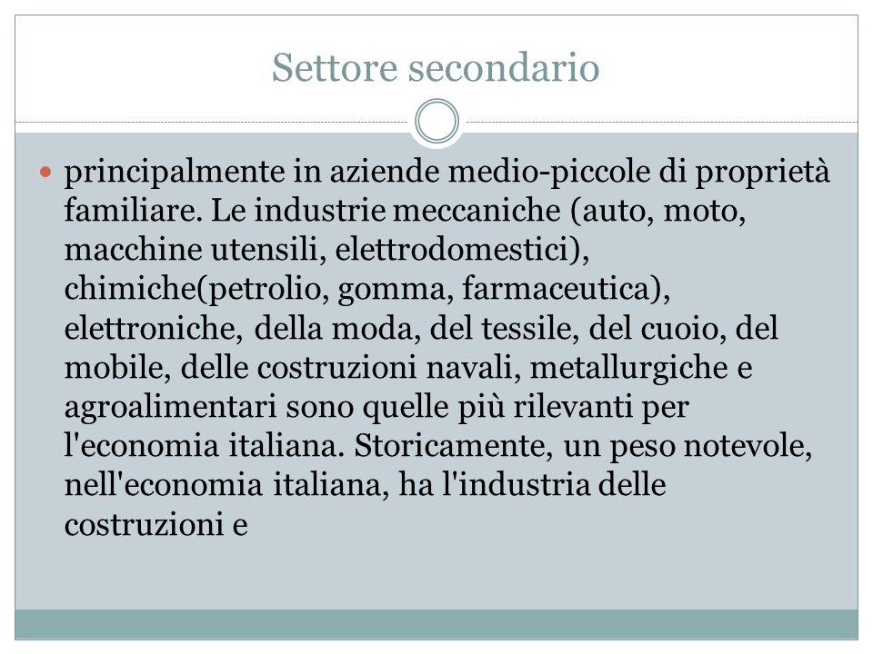 Settore terziario In Italia i servizi rappresentano il settore più importante dell economia, sia per numero di occupati (il 67% del totale) che per valore aggiunto (il 71%).[Il settore è, inoltre, di gran lunga il più dinamico: oltre il 51% degli oltre 5.000.000 di imprese operanti oggi in Italia appartiene al settore dei servizi, e il 45,8% all'area Confcommercio; ed in questo settore nascono oltre il 67% delle nuove imprese.