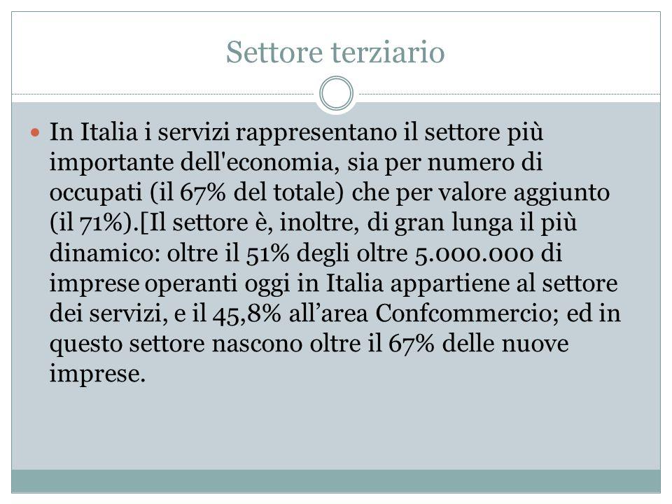 Settore terziario In Italia i servizi rappresentano il settore più importante dell'economia, sia per numero di occupati (il 67% del totale) che per va