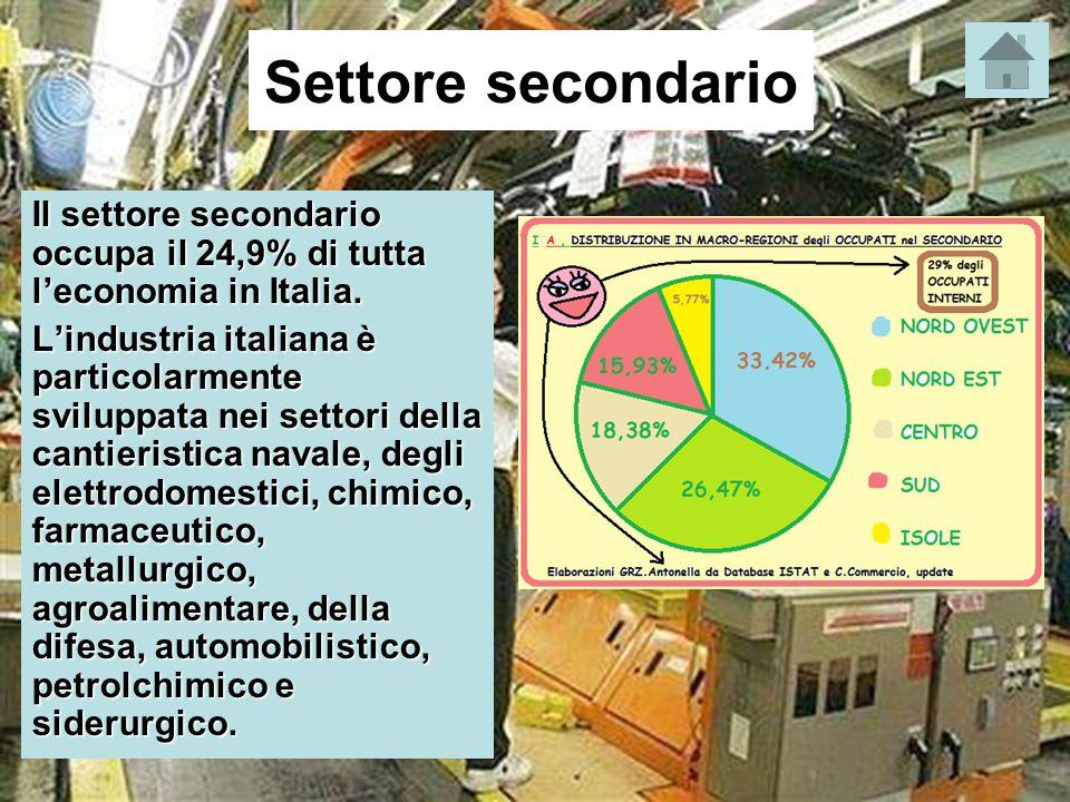 Settore secondario Il settore secondario occupa il 24,9% di tutta l'economia in Italia. L'industria italiana è particolarmente sviluppata nei settori