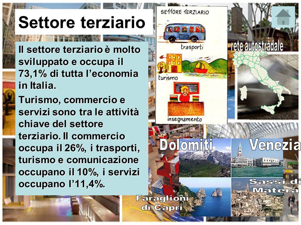 Settore terziario Il settore terziario è molto sviluppato e occupa il 73,1% di tutta l'economia in Italia. Turismo, commercio e servizi sono tra le at